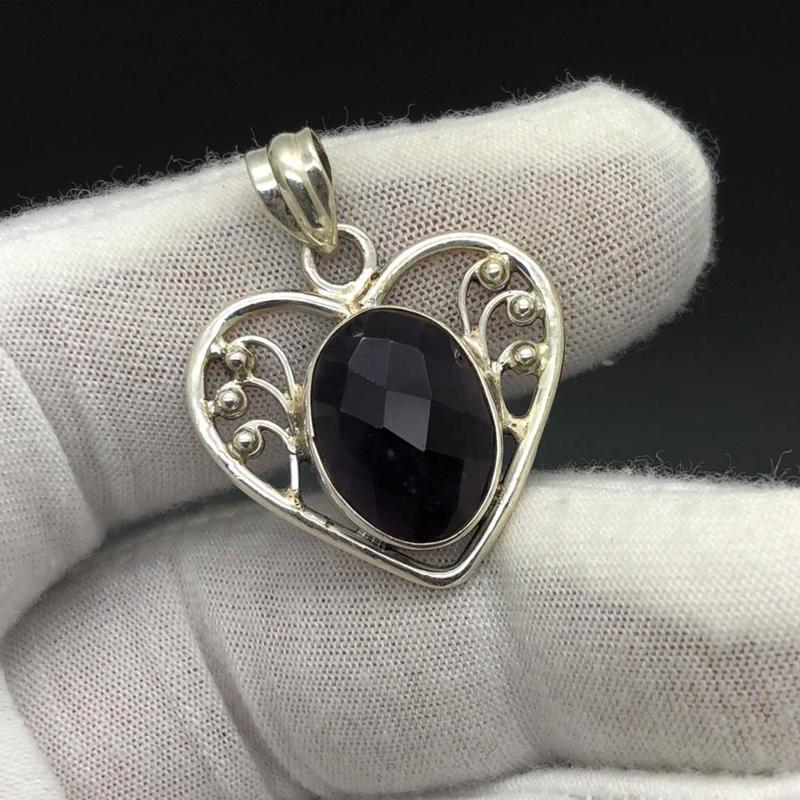 Amethist hanger, 925 zilver