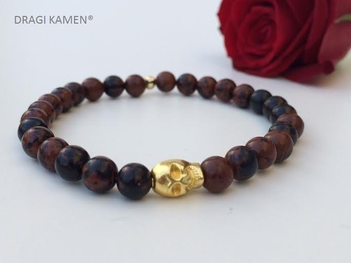 Armband met Mahonie Obsidiaan 6 mm ronde kralen en goud kleurige skull