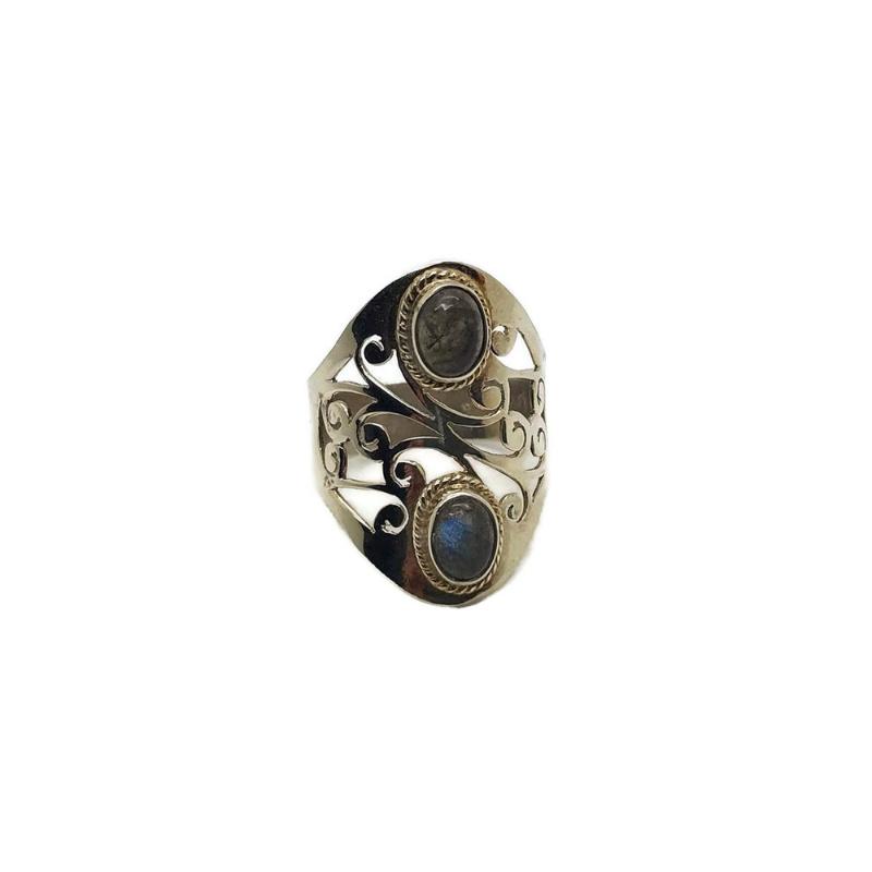 925/000 sterling zilveren ring met geslepen Labradoriet, 18,5 mm/58