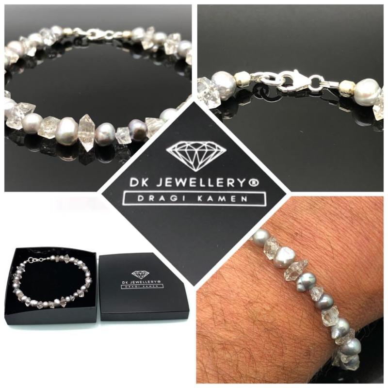 Dames en Heren armband met Zoetwater Parels, Herkimer Diamant en 925/000 zilveren sluiting.