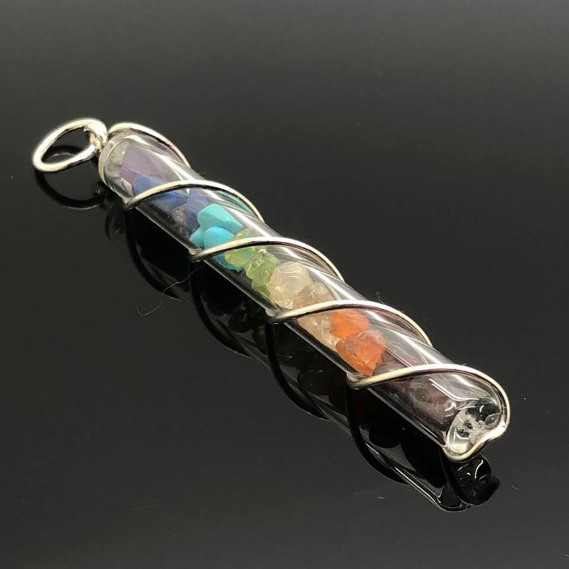 Chakra hanger met prachtige edelstenen, 925 sterling zilver.