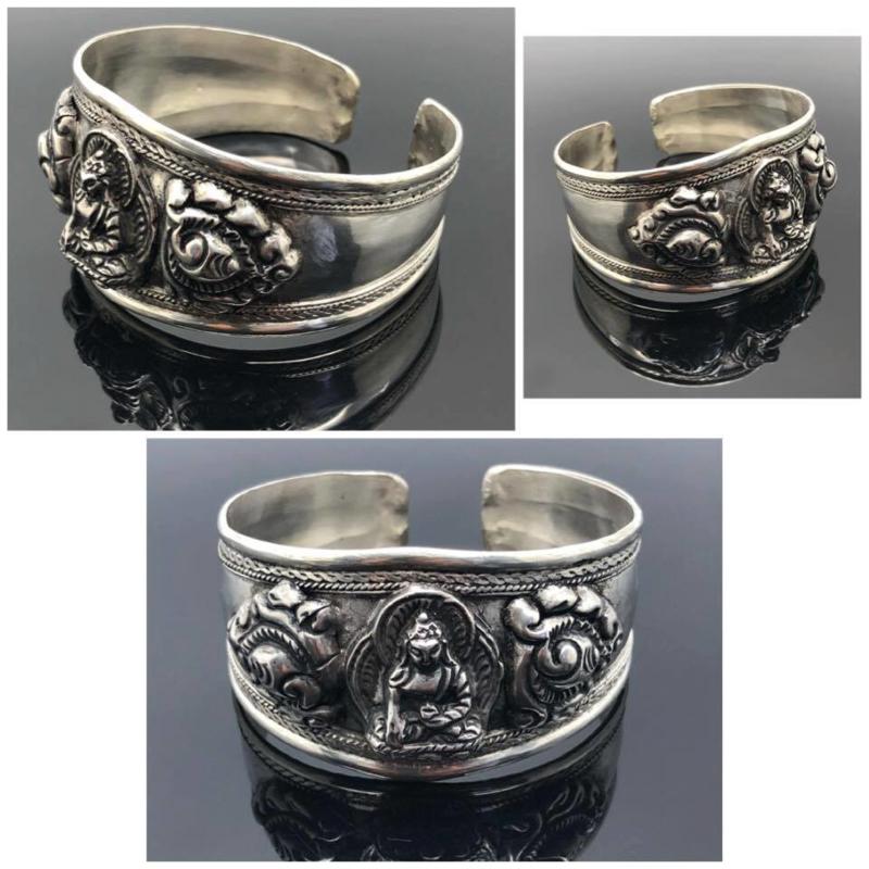 Tibetaans geluks armband handgemaakt uit zilver