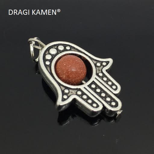 Beschermende Hamsa/Fatima's hand hanger met 8 mm goudsteen bol.