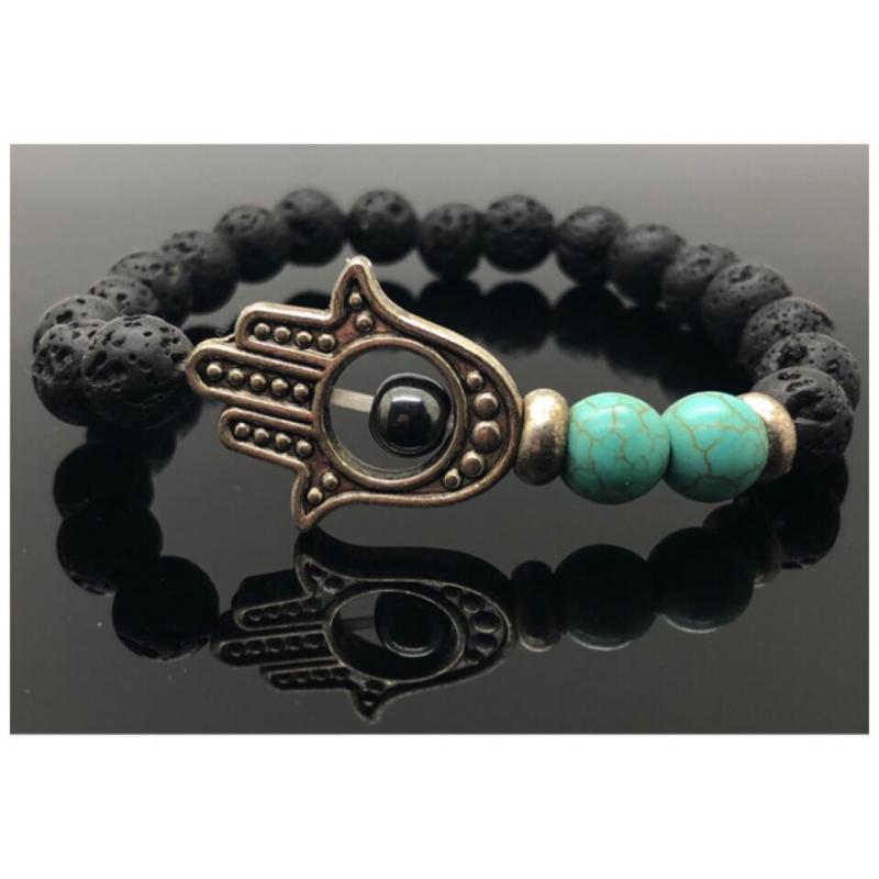 Handgemaakte beschermende Hamsa/Fatima's hand armband met 8 mm Lava stone, Turqueniet kralen en een 4 mm Hematiet kraal.