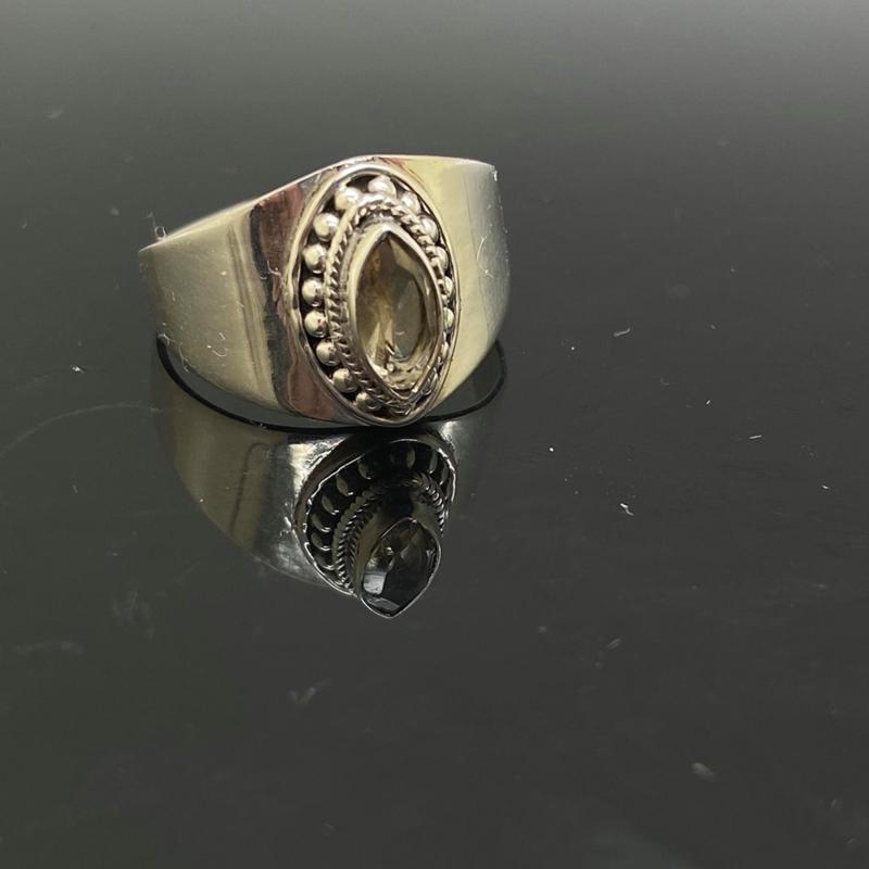 Facet geslepen Citrien ring, 19,75 mm/62, 925 zilver
