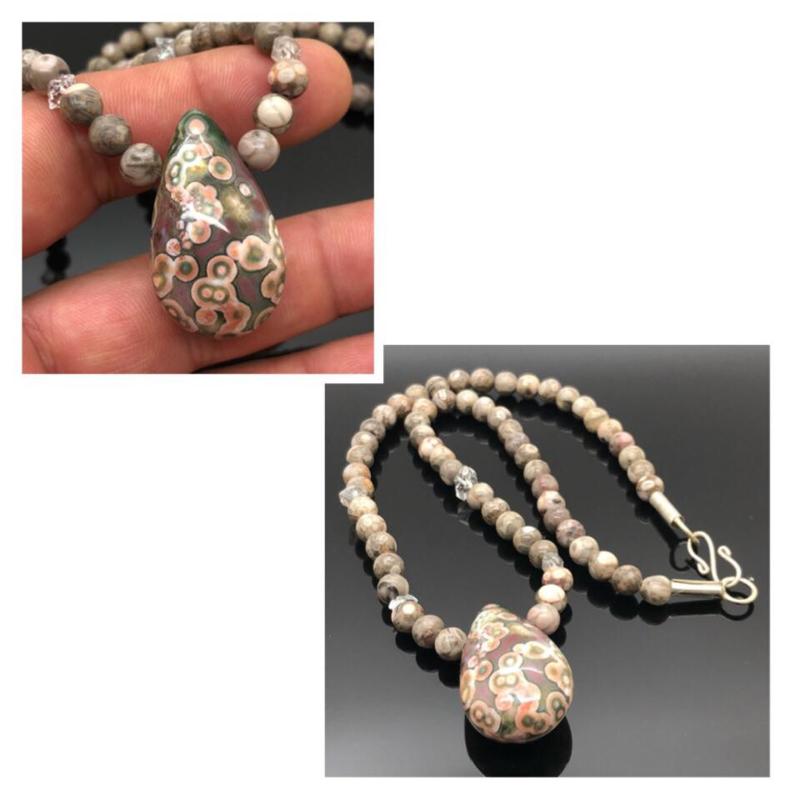 Handgeregen collier met Herkimer Diamant, Ocean Orbicular Jaspis en Oceaan Jaspis hanger uit Madagaskar, zilveren sluiting.
