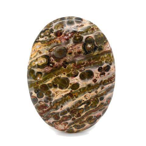 Met de hand geslepen en gepolijst Leopard skin Jaspis cabochon.