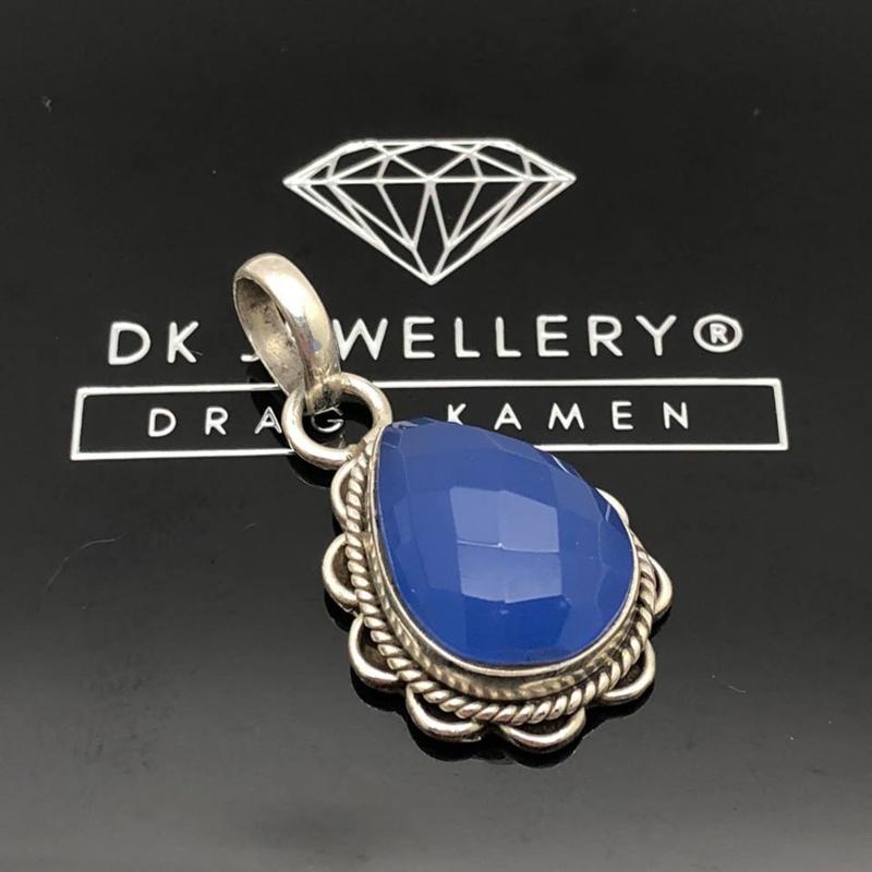 Blauwe Chalcedoon hanger, 925 zilver