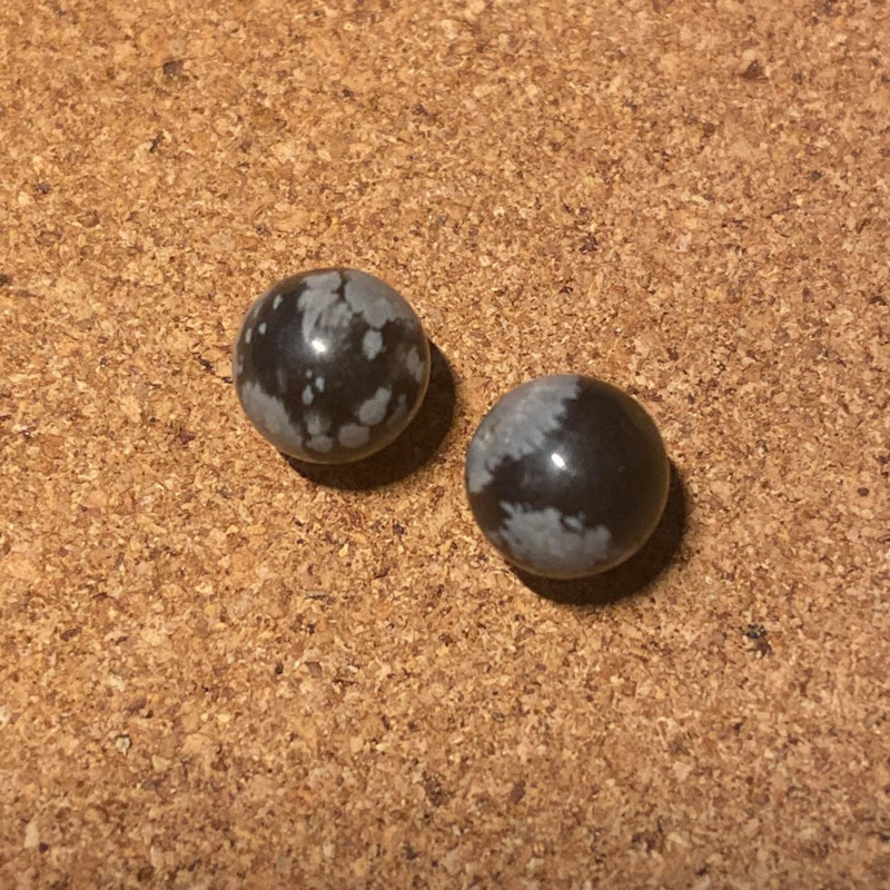 Oorknopjes Obsidiaan, verguld