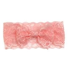 Haarband kant met strik roze