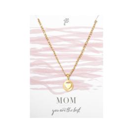 Ketting wenskaart  Mom You are the best (Goud)