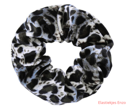 Velvet Scrunchie  Leopard Black