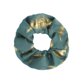 Scrunchie Golden Feather | Blue Green