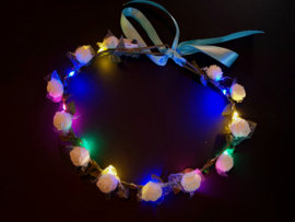 LED Hoofdband 'Roos' | Multi Color/ Witte Roosjes