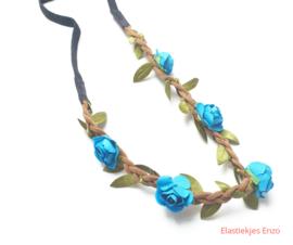 Haarband gevlochten met bloemen Petrol