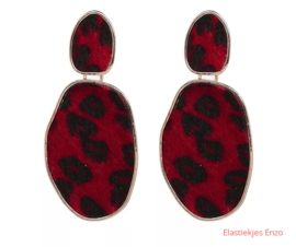 Oorbel Leopard Fur Red