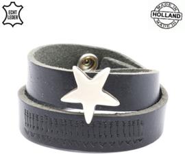 Armband Leer Wikkel Ster Zwart