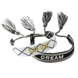 Geweven armbandje   DREAM & LOVE