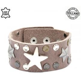 Armband Leer Stars Grey