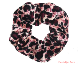 Velvet Scrunchie  Leopard Pink