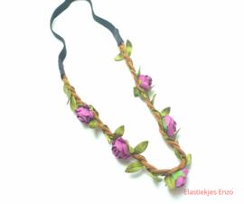 Haarband gevlochten met bloemen Paars