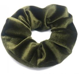 Velvet Scrunchie Olive Green