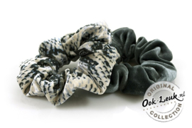 Set scrunchies grijs / snake