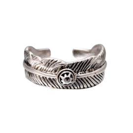 Ring Zilver Feather Circle