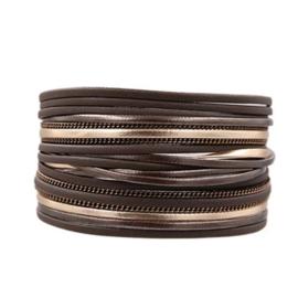 Magneet armband breed   Brons