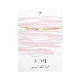 Armband wenskaart| Mom You are the best (Goud)