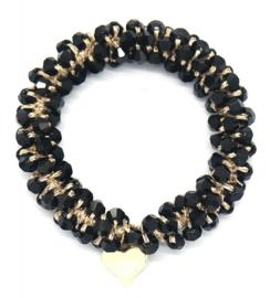 Haarelastiek Beads| Zwart