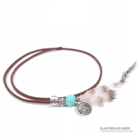 Hairwrap Brown Turquiose | Coin