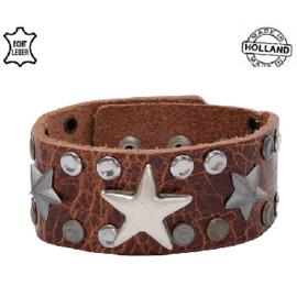 Armband Leer Stars Brown