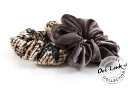 Set Scrunchies Taupe / Snake