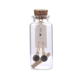 Oorbel Message in a bottle I<3 You Gold & Black