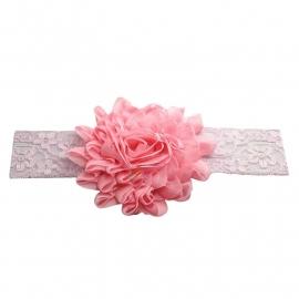 Haarband kant met grote bloem roze