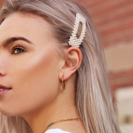 Haarclip met parels rechthoek   Zilver