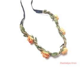 Haarband gevlochten met bloemen Orange