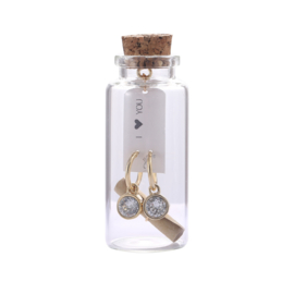 Oorbel Message in a bottle | Happy BirthDay|  Gold & Zilver