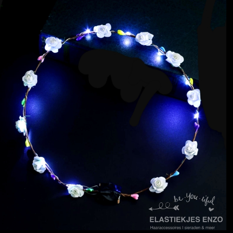 LED Haarband 'Flowers' | White