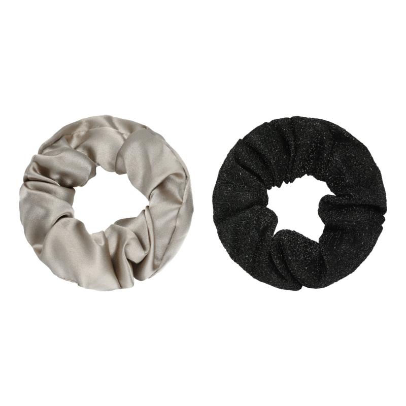 Scrunchie Set of Two | Black & Beige