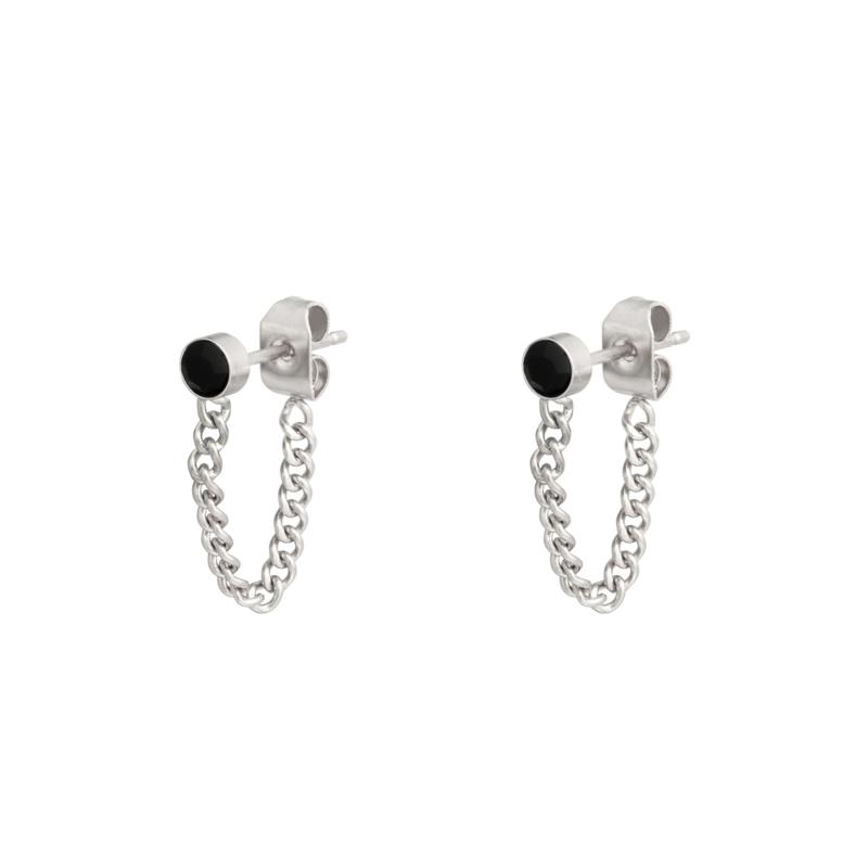 Oorbellen Stone & Chain   Zilver