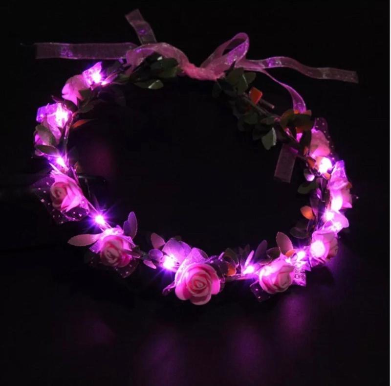 LED Hoofdband 'Roos'   Roze
