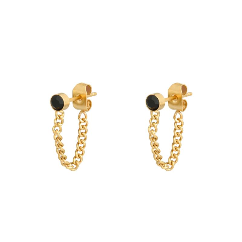 Oorbellen Stone & Chain   Goud