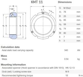 KMT11 hoge precisie asborgmoer SKF