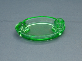 Uranium glass bowl with candle holder