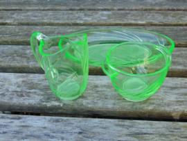 Uranium glass cream set