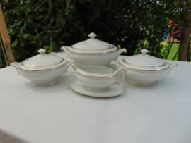 Antieke porseleinen dekschalen set Windsor England