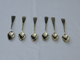 Six antique silver teaspoons.