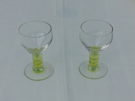 Uranium glass green liqueur glass